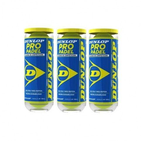 -Tripack bollar Dunlop Pro paddel